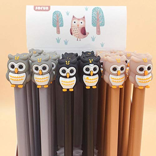 Ink Pens - 3 pcs/lot 0.5 mm Owl Collection Signature Gel Pen Escolar Papelaria School Office Supply Promotional Gift