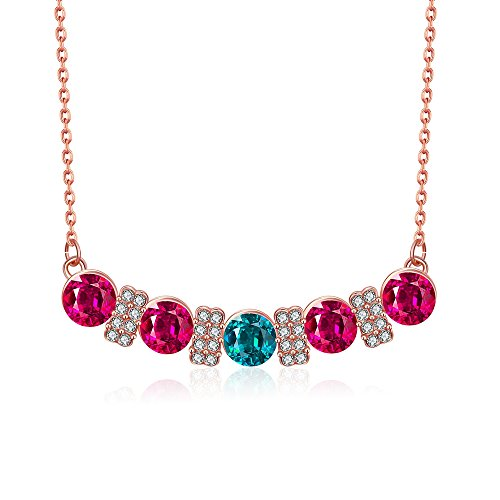Alan M. Arevalo Elegant Womens Fashion Colorful Pendent Necklace with Studded Cubic Zirconia - Watch Uk Station Co