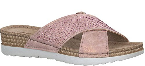 Chross Over mujer 27502 para Sandals rosa Marco Tozzi metalizada Mule tqETTU