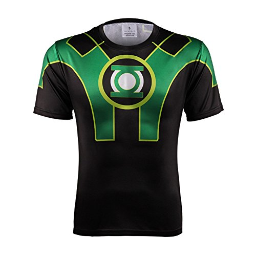 Men's Dri-fit Green Lantern Graphic Shirt Short Sleeve Costume Shirt 3XL (Green Hoodie Costume Lantern)