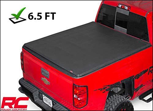 Rough Country Soft Tri-Fold Compatible w/ 2014-2018 Chevy Silverado GMC Sierra 6.5 FT Bed Truck Tonneau Cover 44214650