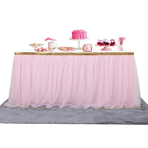 Fulu Bro 9 ft Pink Tutu Table Skirt Gold Trim Mesh Tulle Table Skirt for Rectangle or Round Tables Baby Shower Wedding Christmas Birthday Unicorn Party Decorations -