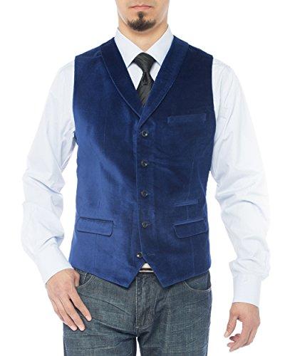 Royal Velvet Linens - LN LUCIANO NATAZZI Men's Shawl Lapel Velvet Waistcoat Modern Fit Dress Suit Vest (44 US / 54 EU = X-Large, Royal Blue)