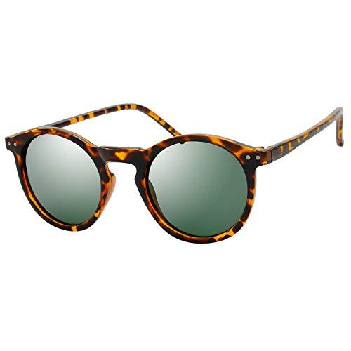 - Polarized Sunglasses for Women Vintage Retro Round Lens - Pillow Box Package (3-Tortoise, Green G15)