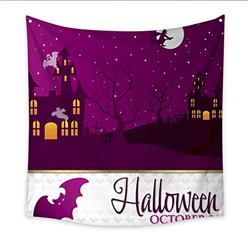 Feminine Tapestry Halloween Invitation Card in Vector Format Large tablecloths Wall Tapestry 70W x 70L Inch -