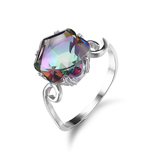 Jewelrypalace Womens 3.2ct Chessboard Cut Natural Mystic Rainbow Topaz 925 Sterling Silver Ring Size 7