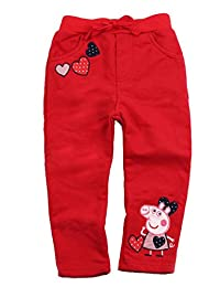 Peppa Pig Little Girls Cartoon Embroidery Cotton Pencil Pants 1-6Y