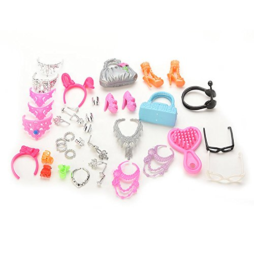 Supershopping A Set of 40pcs Jewelry Necklace Earring Comb Shoes Crown Doll Accessories for Dolls