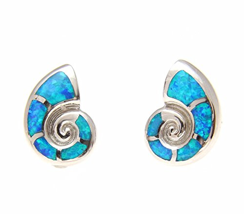 Synthetic Opal Shell - 925 Sterling silver Hawaiian nautilus shell blue synthetic opal post stud earrings