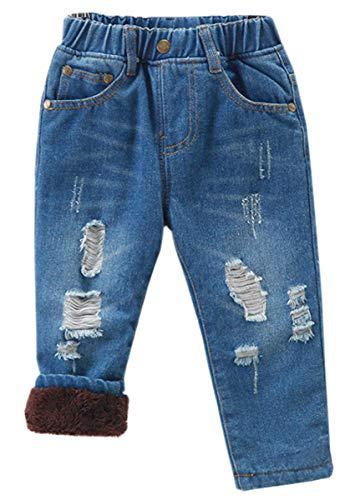 Unisex Kids Boys Girls Elastic Waist Ripped Fleece Lined Denim Pants Jeans, Blue Fleece Lined, US 24M