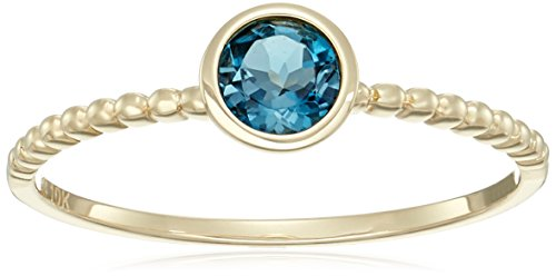 Gold Beaded Ring - 10k Yellow Gold London Blue Topaz Solitaire Beaded Shank Stackable Ring, Size 7