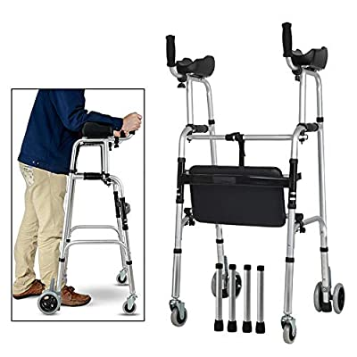 Standard Walkers Elderly People Foldable Walker Adjustable Walking Assist Equipped Wheels Equipped with Arm Rest Pad for The Limited Mobility with Disabled,FourWheels+Seats