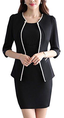 ハンディ初期お母さんHeaven Days(ヘブンデイズ)ワンピーススーツ 上下 2点セット 1つボタン ノーカラー オフィス ビジネス ママスーツ セミフォーマル レディース 1708N1077