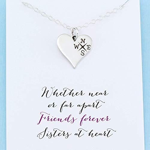 Long Distance Friendship Gift • Best Friend • Compass Heart Necklace • Sterling Silver • Sisterhood Jewelry (Long Distance Best Friend Necklaces)