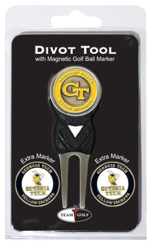 Team Golf NCAA Georgia Tech Yellow Jackets Divot Tool with 3 Golf Ball Markers Pack, Markers are Removable Magnetic Double-Sided -