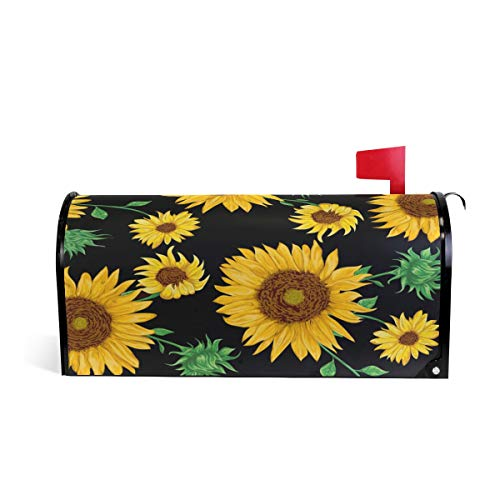 WXLIFE Magnetic Mailbox Cover Floral Flower Sunflower Mailbox Wrap Letter Post Box Cover Decor, Standard Size 20.8x18 Inch
