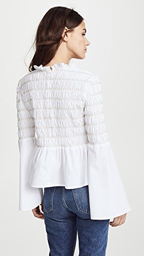 endless rose Women's Smocked Poplin Top, Off White, Small by endless rose (Image #3)