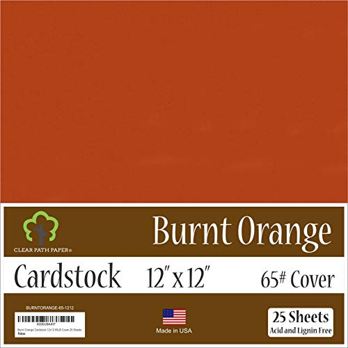 Burnt Orange Cardstock - 12 x 12 inch - 65Lb Cover - 25 Sheets -