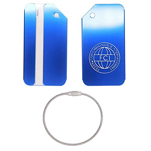 - LOGO FCI STAINLESS STEEL - ENGRAVED LUGGAGE TAG (ROYAL BLUE) - UNITED STATES MILITARY STANDARD - FOR ANY TYPE OF LUGGAGE, SUITCASES, GYM BAGS, BRIEFCASES, GOLF BAGS