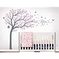 Large Tree Wall Decal Removable Wall Sticker With Custom Name Whimsical Cherry Blossom Tree Nursery Wall Decal From Surface Inspired 1014