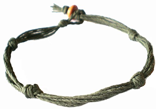 Army Green Love Knot Not Barb Wire Hemp Anklet – Handmade