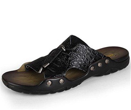 Bininbox Mens Pantoufles Sandale Plate Été Chaussure Respirante À Bout Ouvert Métal Noir