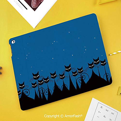 Printed Case for Samsung Galaxy Tab S4 Corner Protection Premium Vegan Leather Stand Cover,Night,Artistic Graphic Crowd of Stylized Black Cats and Starry Sky on The Backdrop,Blue Black White
