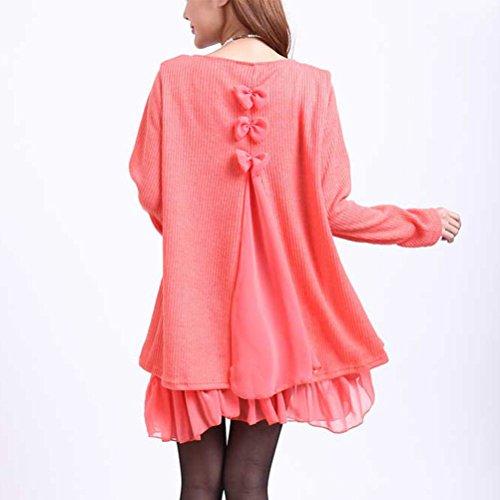 Winter Sweater Cardigan Sleeve Collar Loose Long Dress Knit Orange Lingjiu Women Round Pullover 6wPf44