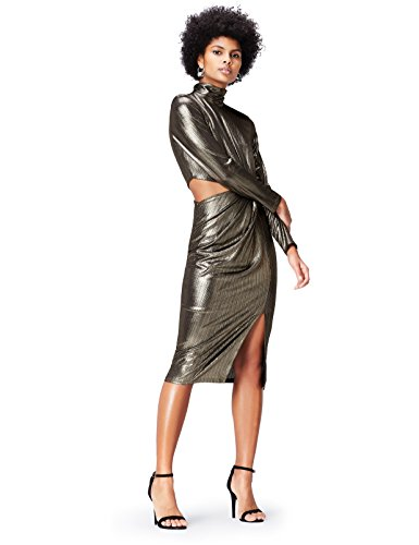 FIND Vestido Asimétrico para Mujer Dorado (Gold)