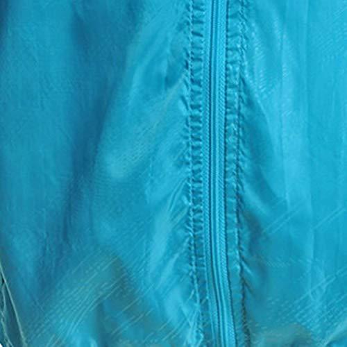 Estivi Unisex Himmel Uv Protezione Moda Cerniera Elegante Manica Monocromo Tasche Cappuccio Anteriori Giacca Donna Softshell Leggero Rapida Grazioso Stlie nbsp; Con Asciugatura Lunga Outerwear Blau XgxtwA