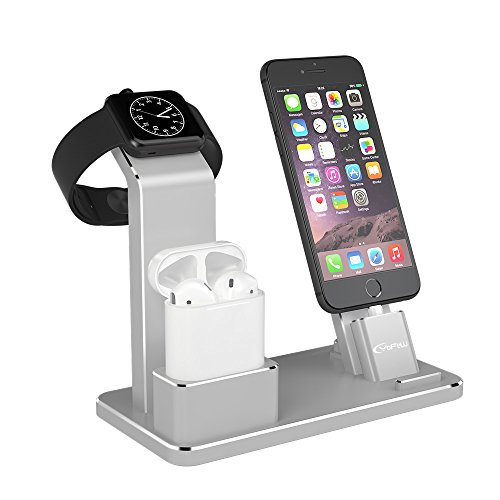 YoFeW Apple iWatch Stand Aluminum 4 in 1 Apple Watch Charging Stand AirPods Stand Accessories Charging Docks Holder for Apple Watch Series 2/ 1/ AirPods/ iPhone 7/7 Plus /6S /6S Plus/ iPad Silver