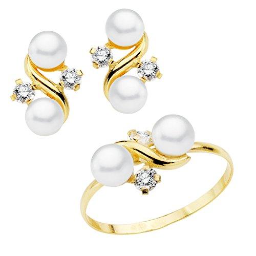 Conjunto niña mujer oro amarillo 18 ktes 1ª Comunión anillo y pendientes con perlas y circonitas