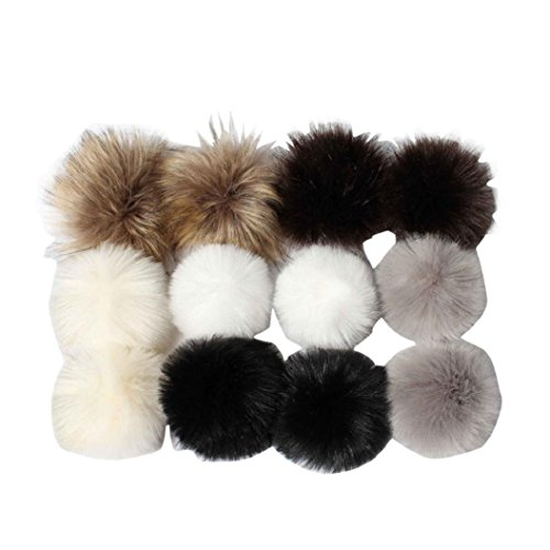 Kinrui DIY 12pcs Faux Fox Fur Fluffy Pompom Ball for Knitting Hat Hats -