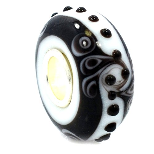 ICYROSE Solid 925 Sterling Silver Black and White with Scrolls, Stripes, and Dots Glass Charm Bead for European Snake Chain Bracelets
