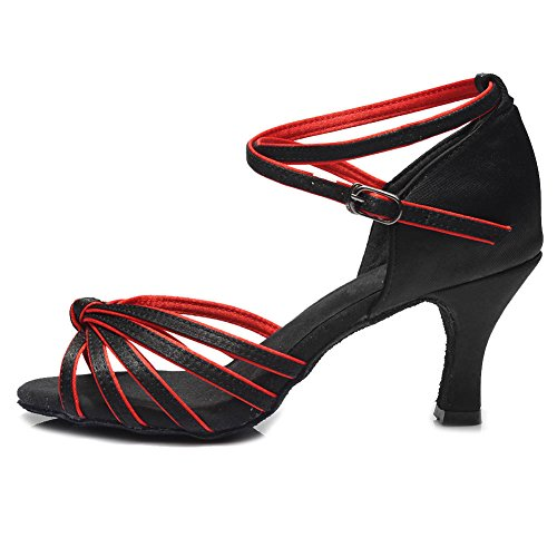 Latine Chaussures 217 7cm de Femmes HROYL Satin Modèle Danse Noir de Chaussures rouge Danse WATnYqHw