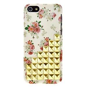 conseguir Blooming Roses Pattern y Rivet Diseñado estuche rígido de la PC de la vendimia para iPhone 5C