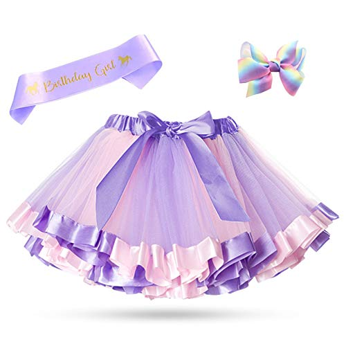 Layered Rainbow Tutu Skirt Girls Dress up Kids Birthday Party Christmas Outfit (Purple, S/0-2Y)