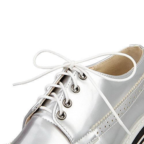 Odomolor Women's Blend Materials Low Heels Square Closed Toe Solid Lace up Pumps-Shoes Silver 7QfeARQ2
