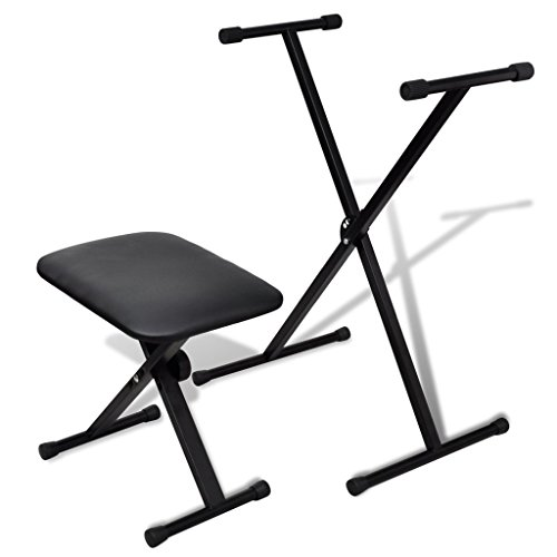 Anself Adjustable Keyboard Stand and Padded Piano Stool B...