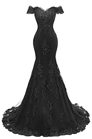 Himoda Women's V Neckline Beaded Evening Gowns Mermaid Lace Prom Dresses Long H074 2 Black