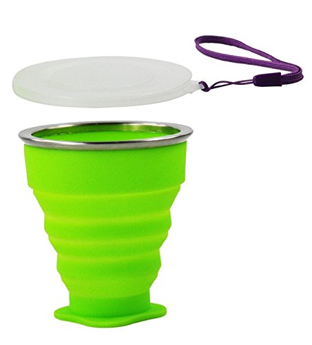 Wealers Collapsible Travel Cup Silicone Bpa-free 7 Ounce Foldable Mug Dishwasher Safe Pop up Cup. Cool Funny Unique Camping Travelling Gear Supplies Accessory. (Green)