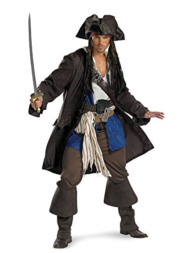 Captain Jack Sparrow Prestige Premium Costume - X-Large - Chest Size 42-46