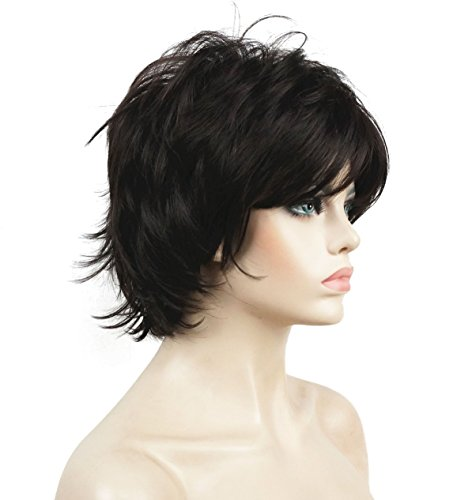 Lydell Short Layered Shaggy Full Synthetic Wig Wigs #4 Dark Brown (Short Medium Length Layered Hairstyles With Bangs)