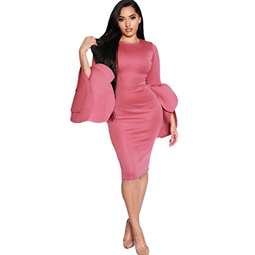 Petal Sleeve Dress (Romacci Women Belled Sleeves Bodycon Dress Petals Flared Zipper Sheath Party Dress)