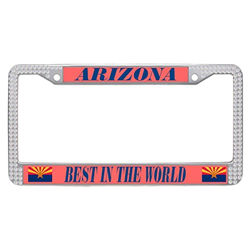 Dasokao Funny Auto License Plate Frame Arizona (AZ), Rhinestones Bling Car Tag License Plate Frame With Screw Set - (Arizona State Diamond Plate)