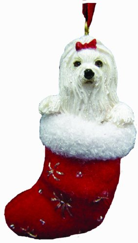 Maltese Christmas Stocking Ornament with