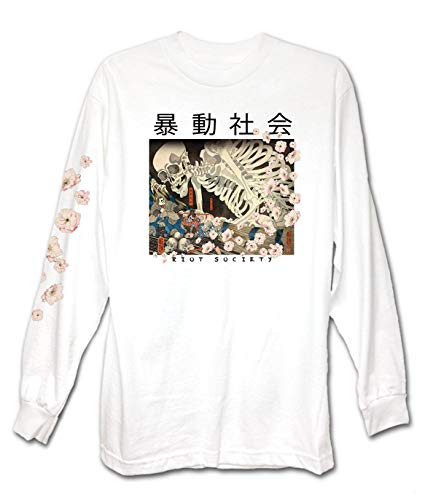 Riot Society Skeleton Japan Mens Long Sleeve T-Shirt - White, Small