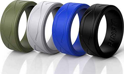 Rinfit Silicone Wedding Rings for Men - 4 Pack - Comfortable Durable Wedding Ring Replacement - U.S. Design Patent (Green, Gray, Blue, Black, 10)