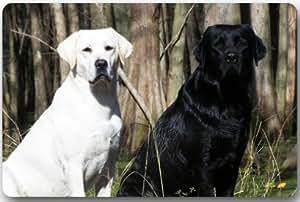 """Animales perro Labrador cachorro EN LA HIERBA Rectángulo Entryways–Felpudo antideslizante Felpudo alfombra–23,6(L) X 15,7(W), 3/16espesor de la """""""