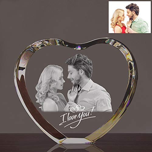 (Qianruna Personalized Custom 2D/3D Laser Engraving Etched Crystal Glass Photo Picture Heart Block,Valentine's Day, Wedding, Mother's Day, Father's Day,)